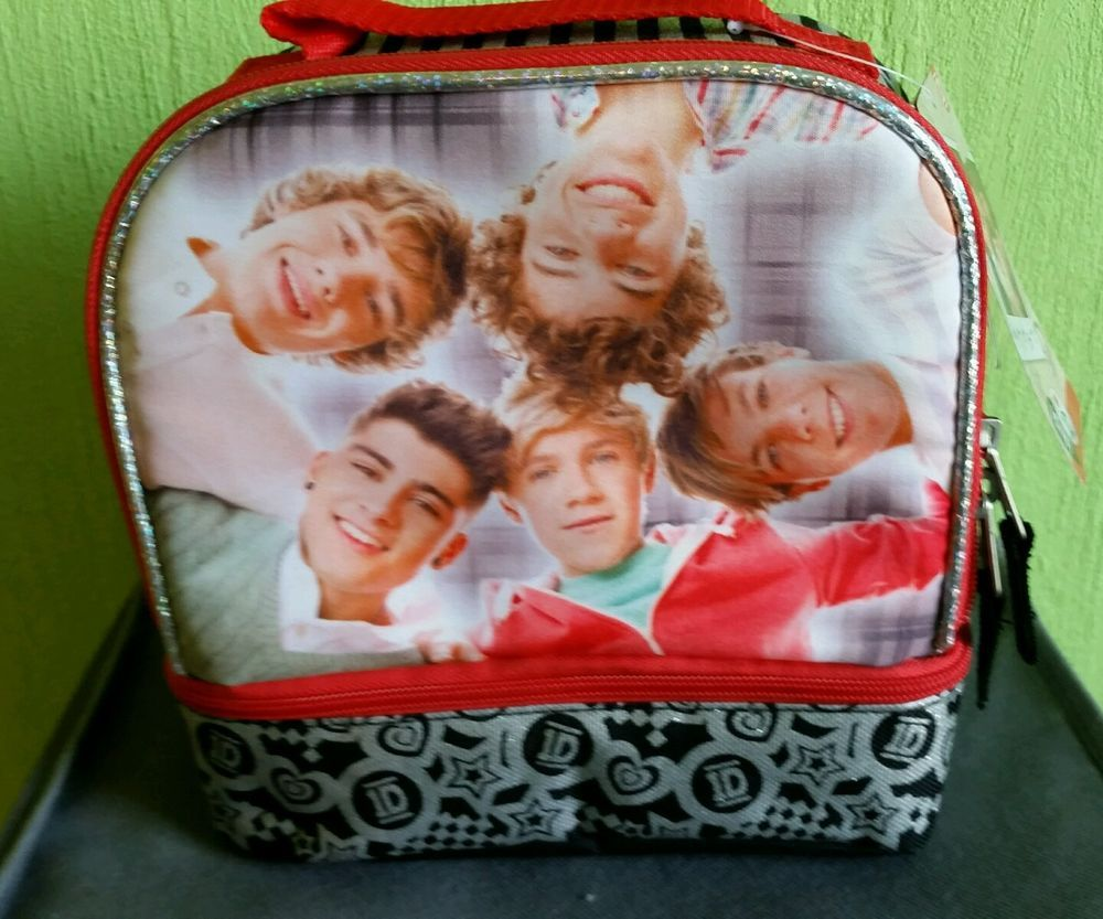 New One Direction 1D Insulated Soft Lunch Box Dual Compartment Zipper