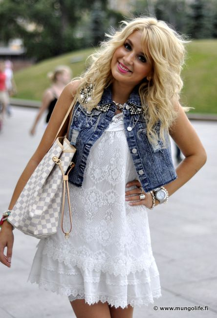 Denim Vest over White Dress, so cute with some sandals or some boots!