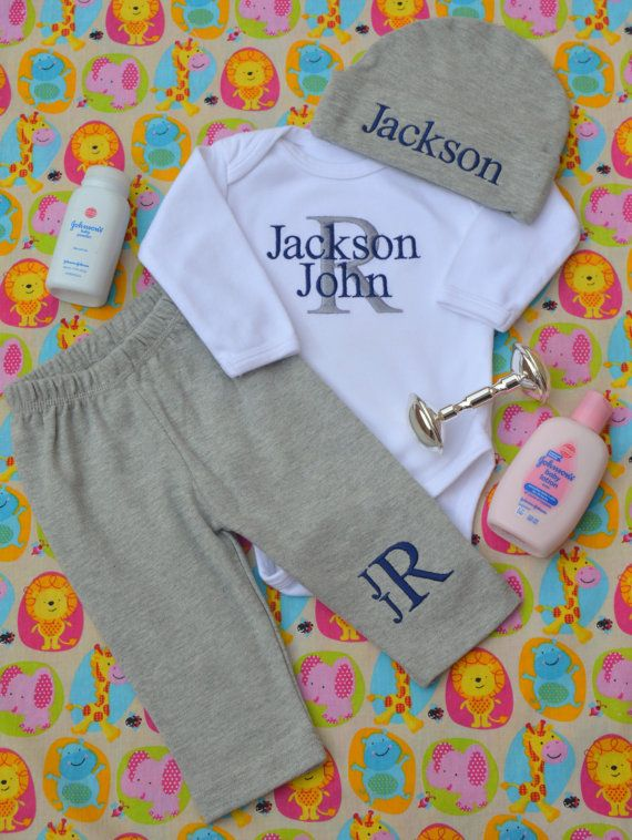 Embroidered Baby Gift Ideas : Newborn boy coming home outfit clothes by