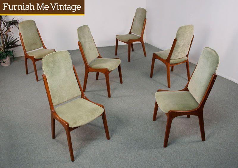 6 Mid Century Modern Danish Teak High Back Dining Chairs High