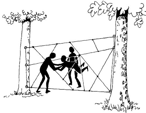 Spider's Web rope course. Must get all members through a