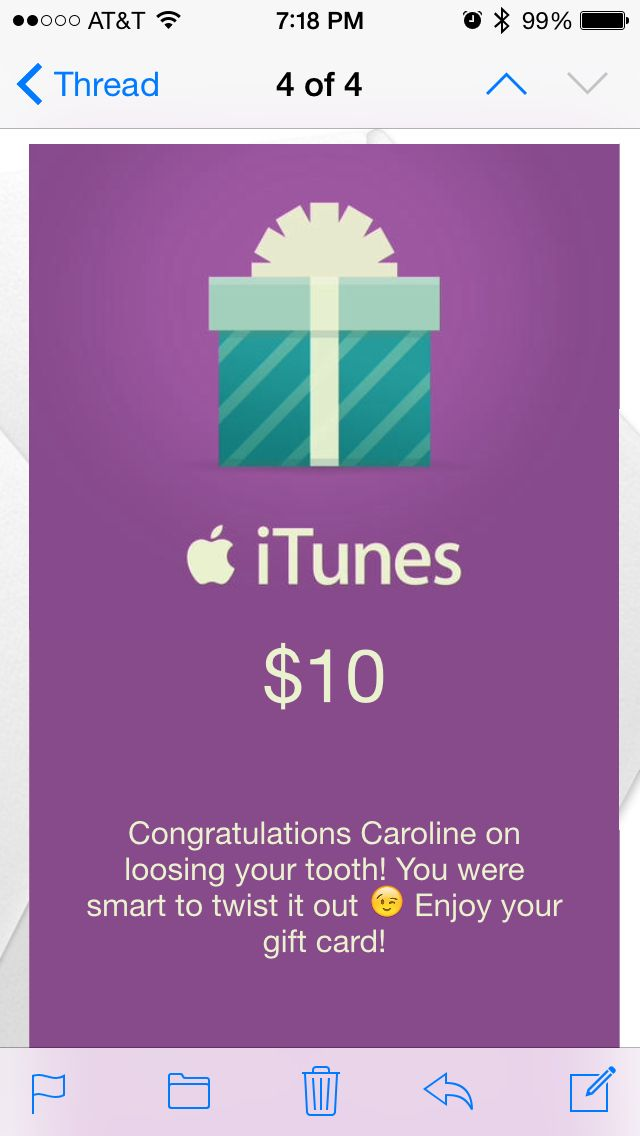 Itunes Gift Card From The Tooth Fairy Sent Via Email For The Child To Receive In The Am Itunes Gift Cards Gift Card Cards
