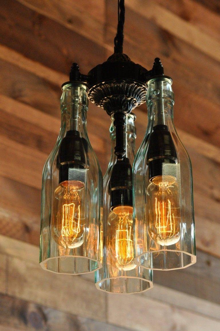 33 Interesting Handmade Industrial Lighting Design Ideas Bottle Chandelier Bottle Lamp Bottle Lights