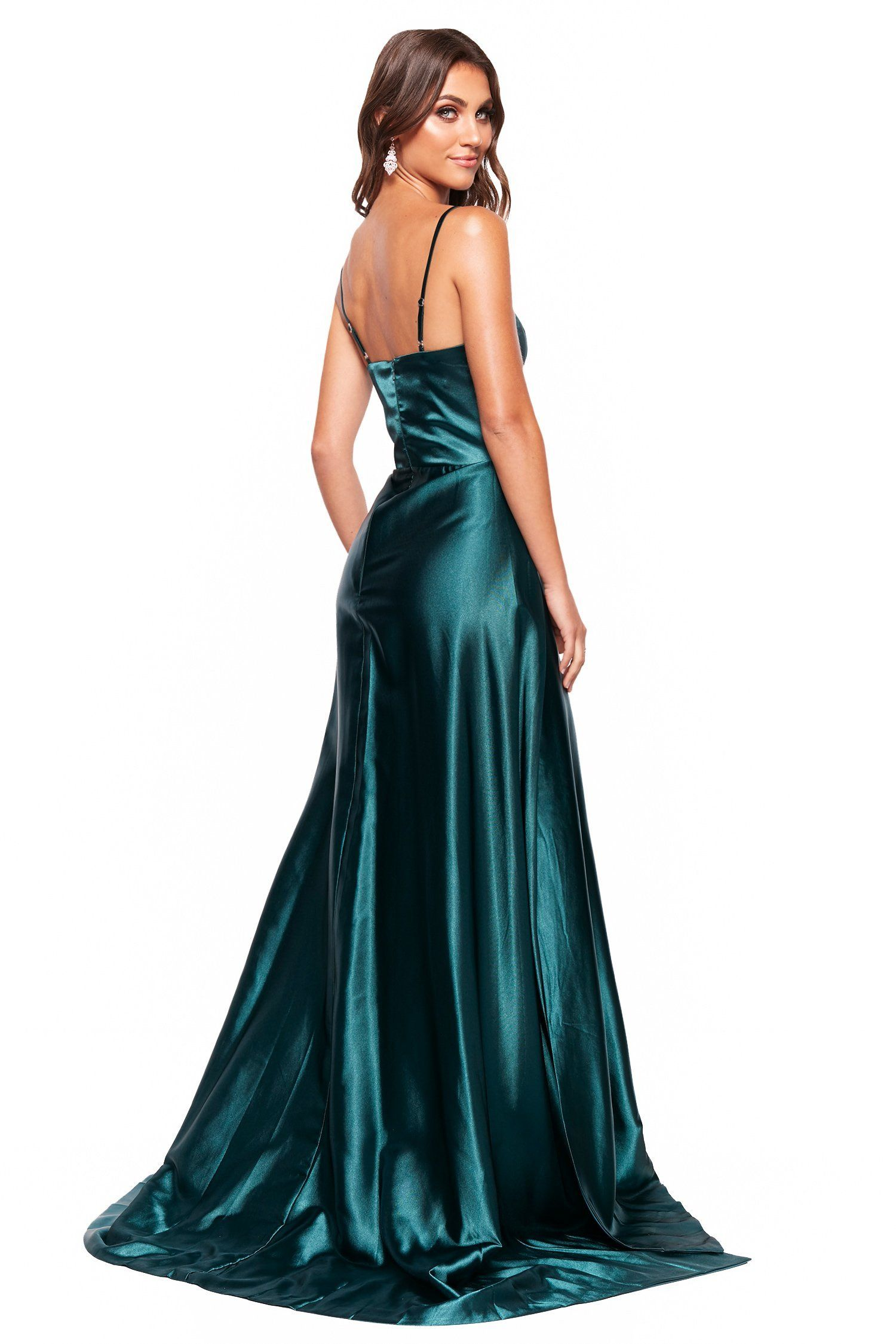 259b0147d40 A N Vanessa - Emerald Satin Gown With Mermaid Train and Slit