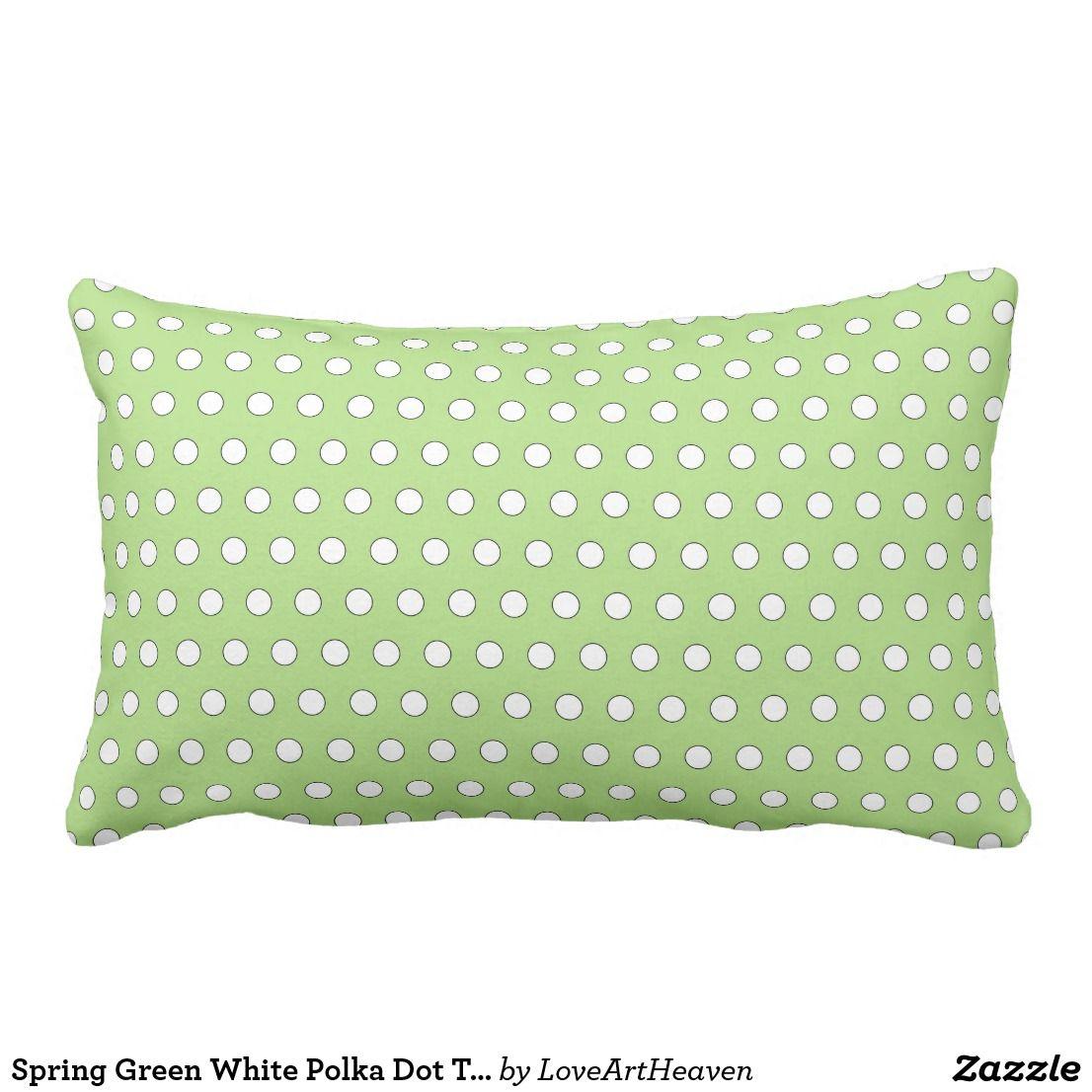 Amazing Spring Green White Polka Dot Throw Pillow Zazzle Com Machost Co Dining Chair Design Ideas Machostcouk