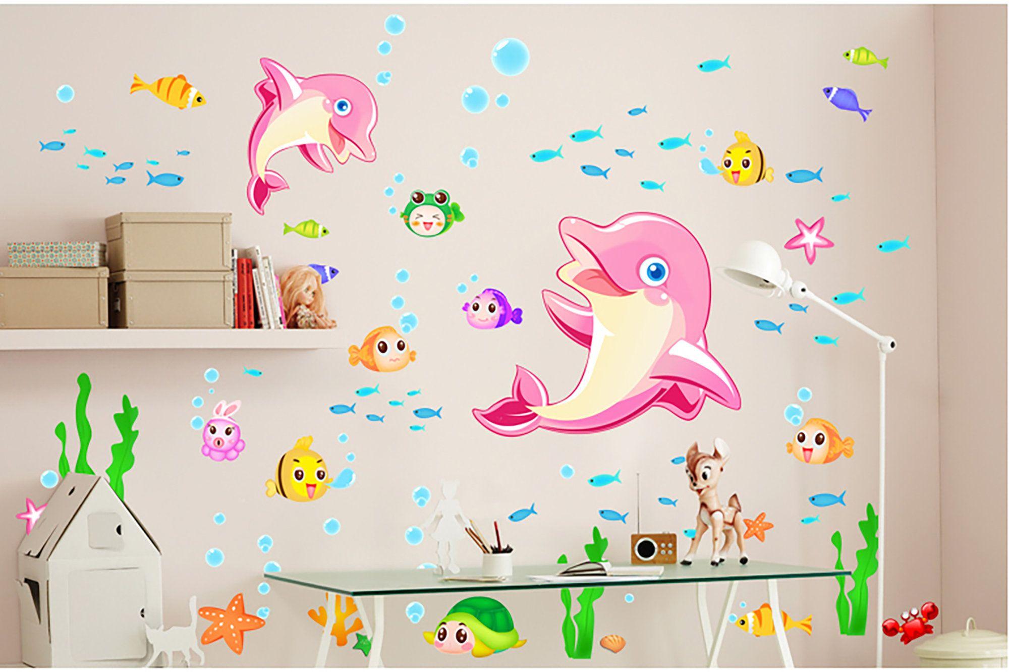 Stickers muraux Chambre pour les dauphins roses Ocean Park Kindergarten Room …