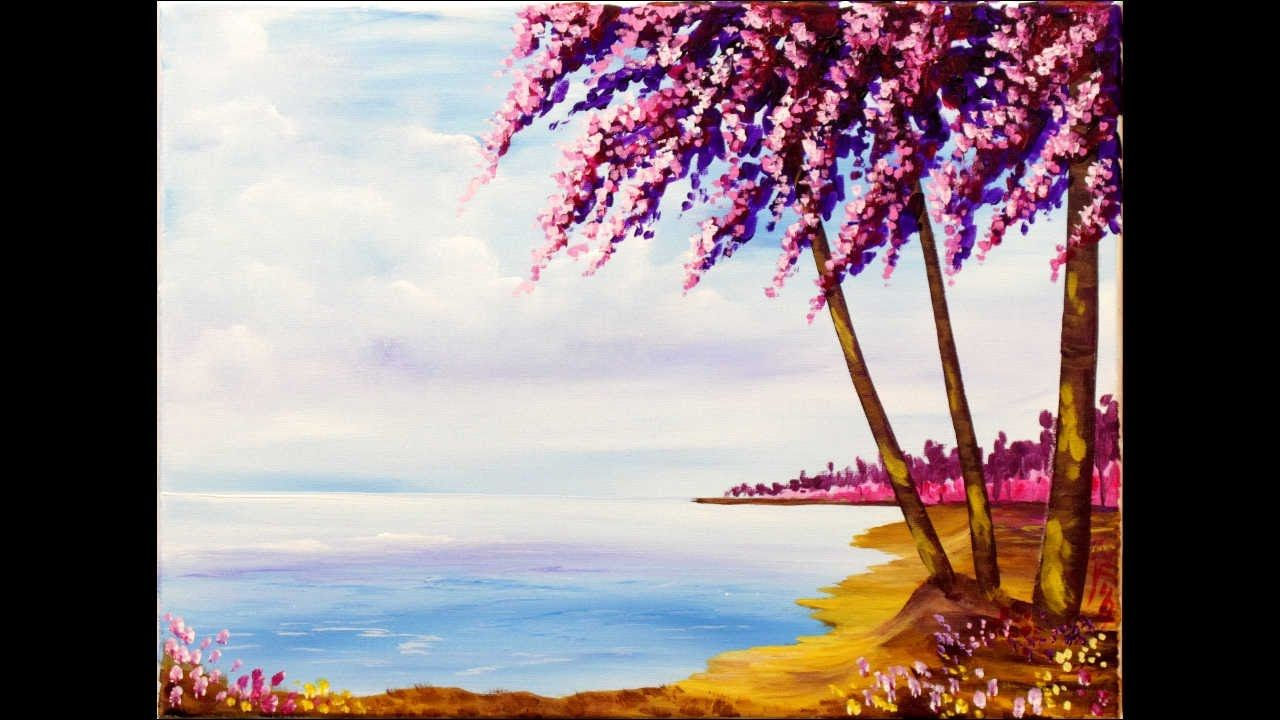 let u0027s get springy with this impressionistic beach scene with pink