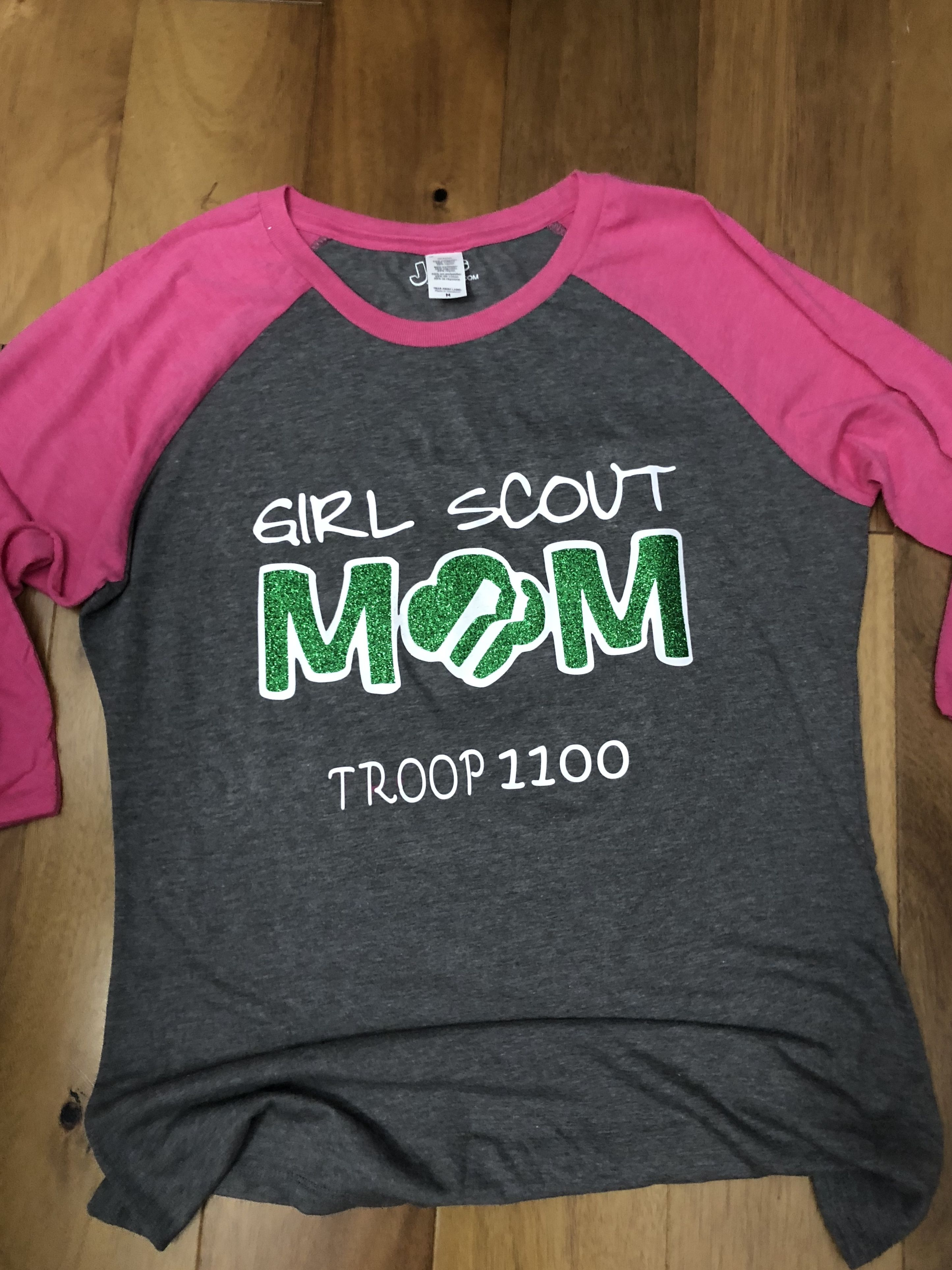 Girls Scouts Custom Bling Rhinestone T-Shirt with customized Troop number