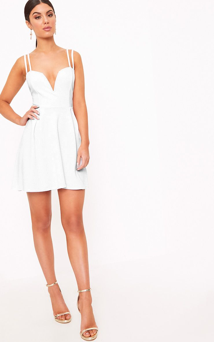 5ef5c7393a White V Plunge Double Strap Skater Dress