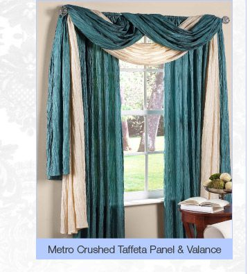 Metro Crushed Taffeta Panel Valance Curtains Living Room