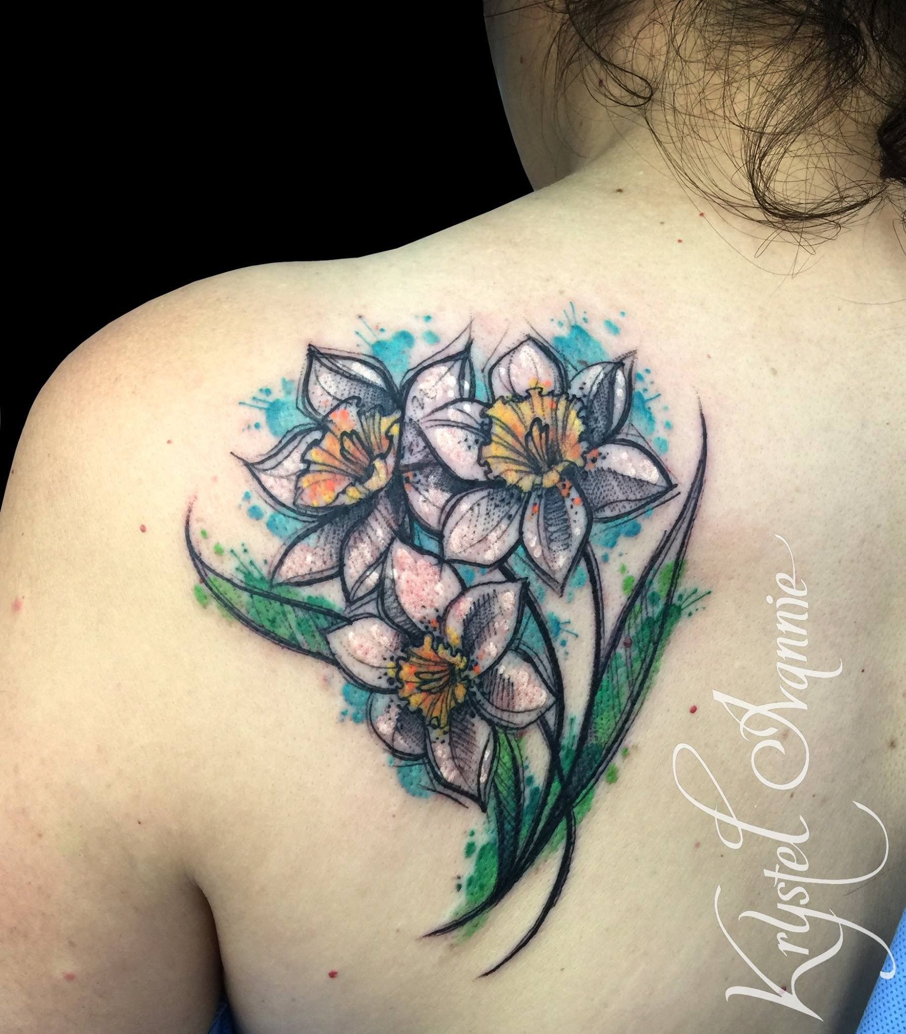 Narcissus flower tattoo watercolor Narcissus flower