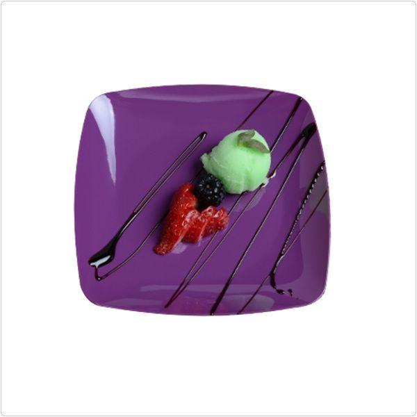 Purple Renaissance 5 1 2 Inch Plastic Square Dessert Plates Case Of 120 Tags