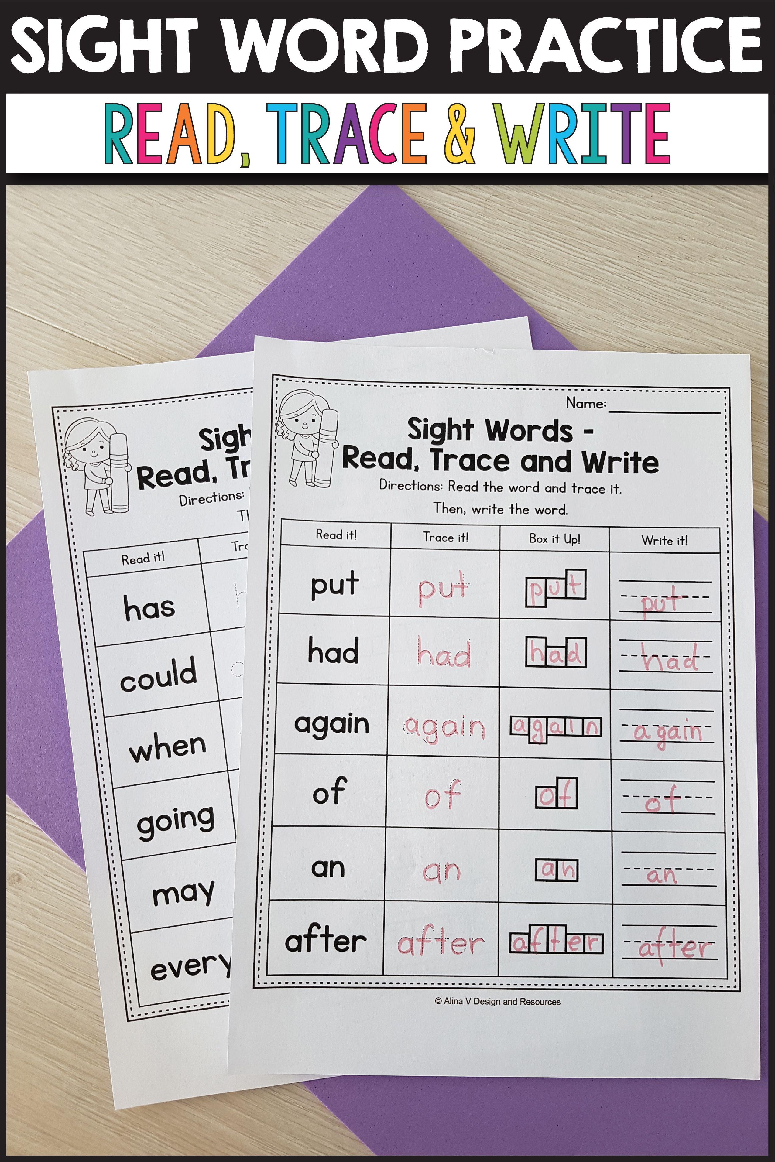 Sight Word Practice For Preschool Kindergarten And 1st