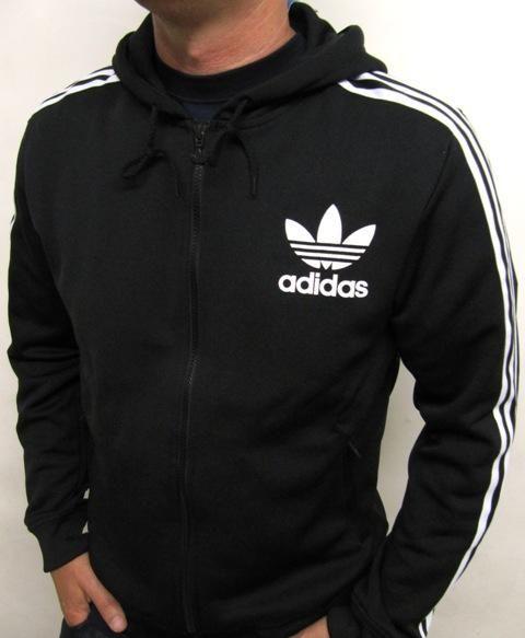 2654b09868 Adidas Originals Flock Hoody Hooded Track Top In Black White ...