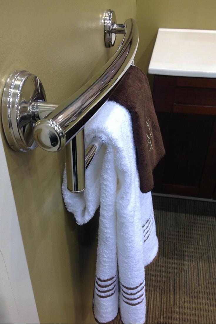 Decorative grab bar and towel bar universal and accessible design