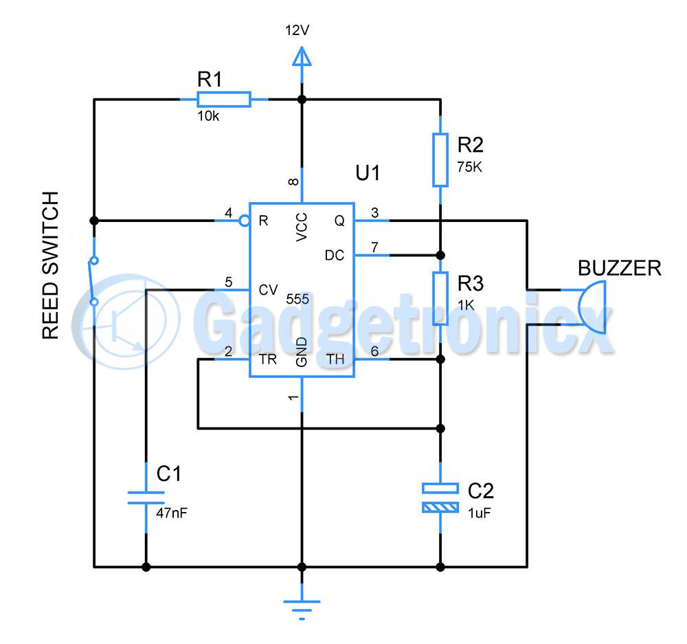 this burglar alarm or theft alarm is built using timer ic 555 and very simple circuit to assemble and set up in home this diy alarm is quite easy to build [ 1000 x 937 Pixel ]