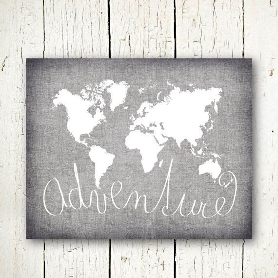 World Map Digital Download Neutral Grey And White World Map - Grey world map poster