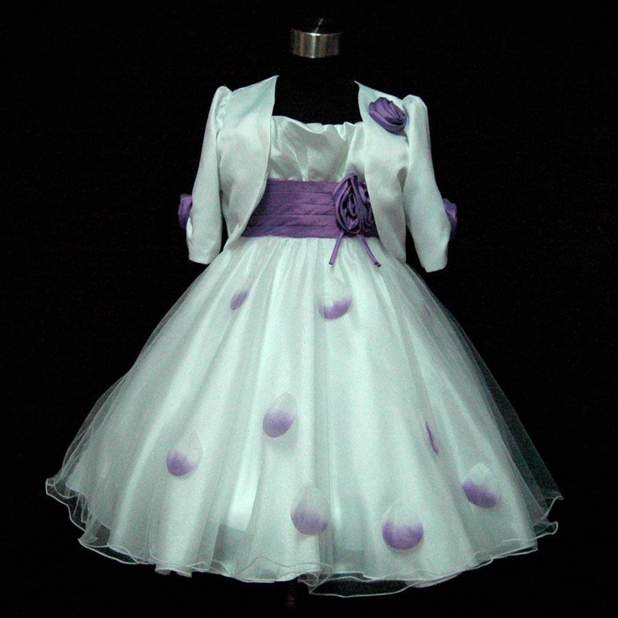 Purple White Party Flower Girls Dresses + Cardigan Set AGE SIZE 2,3 ...