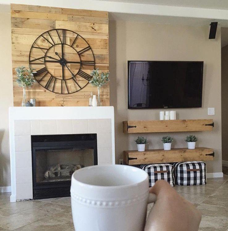 Clock Over Fireplace Fireplace Mantle Decor Good Morning Friends Neutral Decor