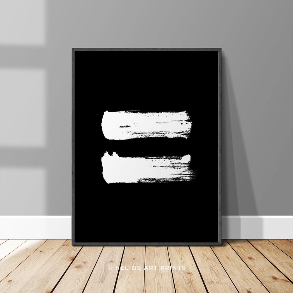 Equal Equality Symbol Minimalist Brushstroke Print Modern Etsy Black And White Wall Art Printable Wall Art Wall Printables