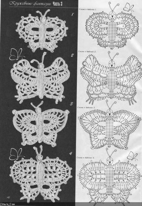 crochet - with diagram | Häkeln Schmetterling crochet butterfly ...