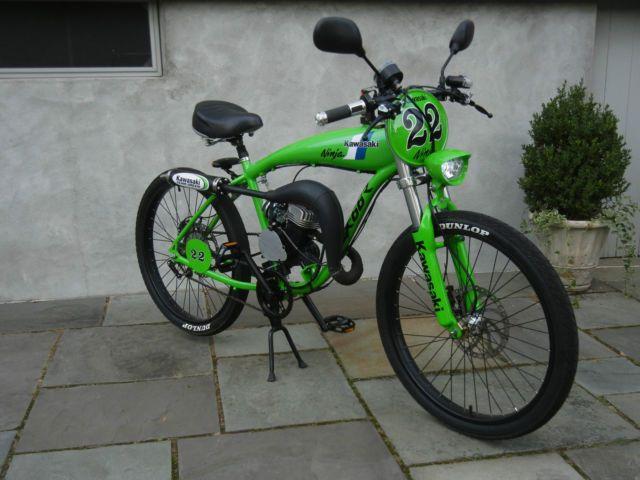 Green Custom Kawasaki Tribute Motorized Bicycle Moped Two Stroke