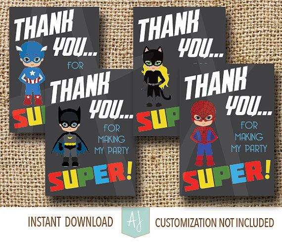 Calling All Superheroes! A Super Birthday Party Thank You