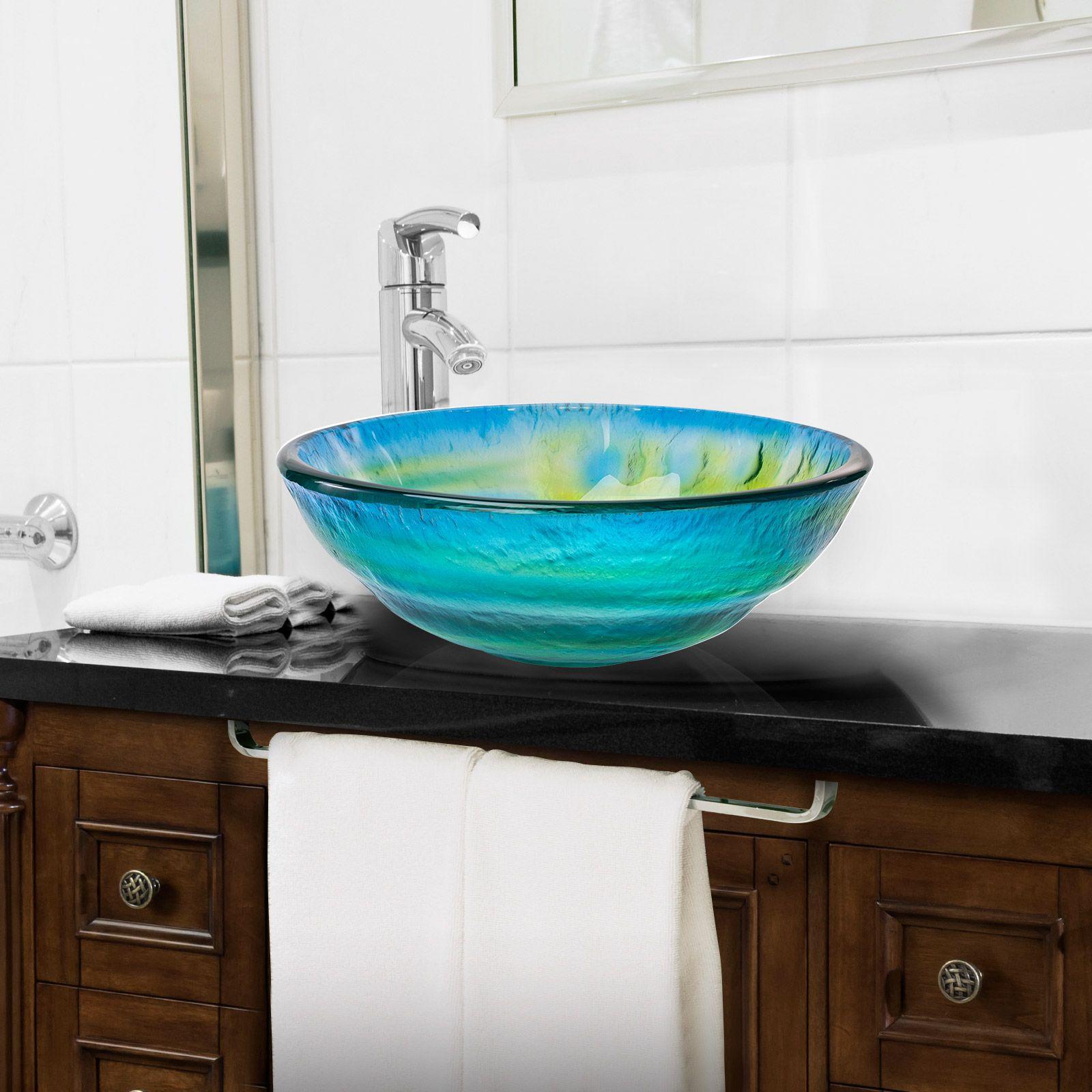 Miligore Modern Glass Vessel Sink Above Counter Bathroom Vanity