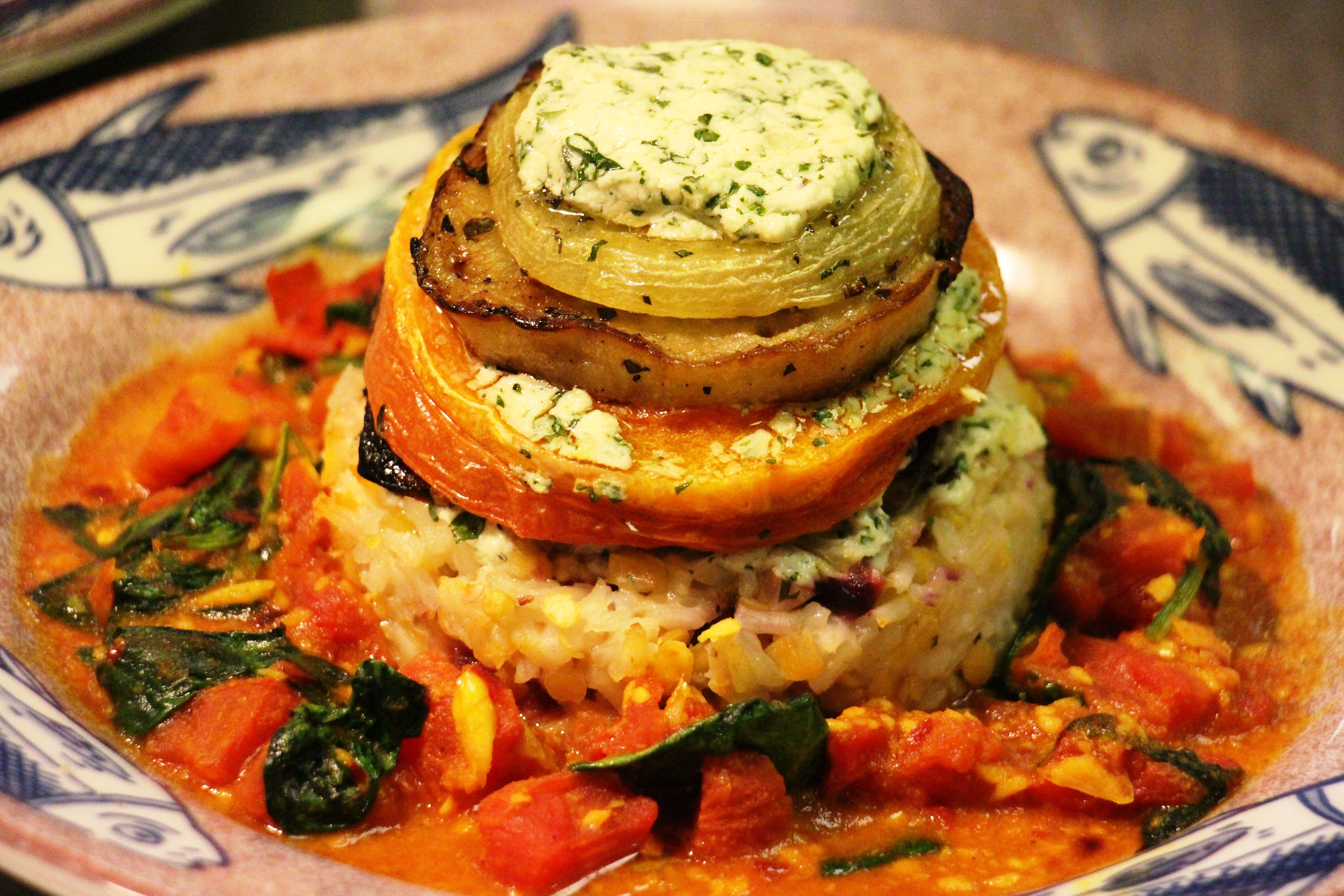 Veggie Stack with Herbed Goat Cheese Spread