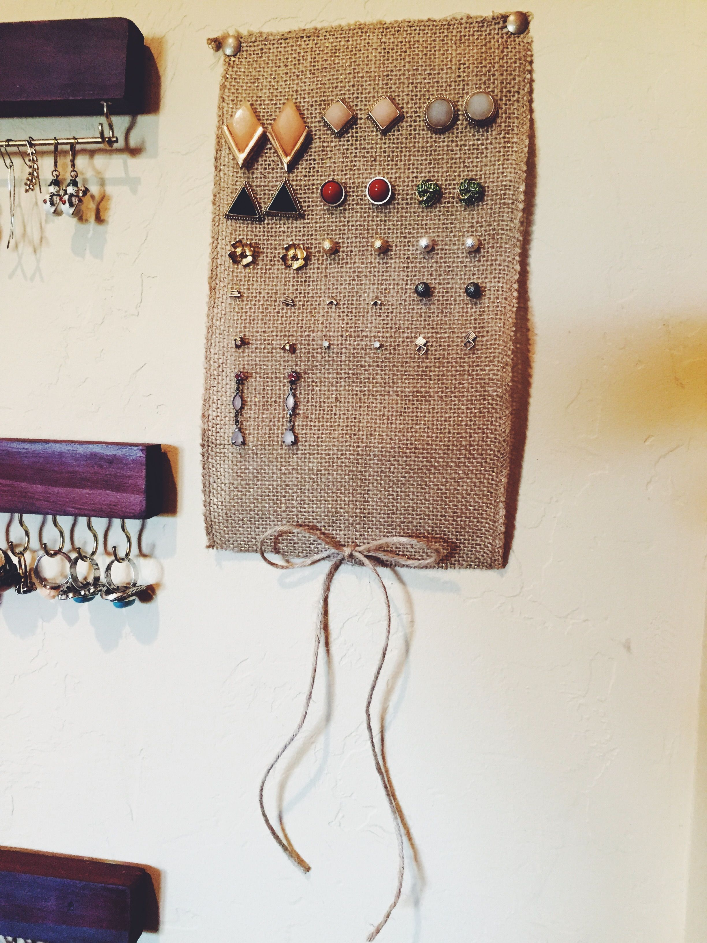 Made This Burlap Earring Holder To Hold My Stud Earrings I