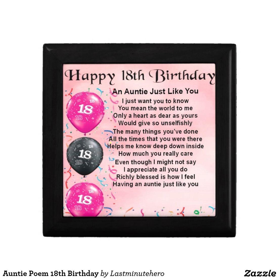 Auntie Poem 18th Birthday Gift Box Zazzle.co.uk