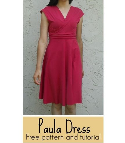 Free pattern: Paula Dress with a surplice bodice and a circle skirt