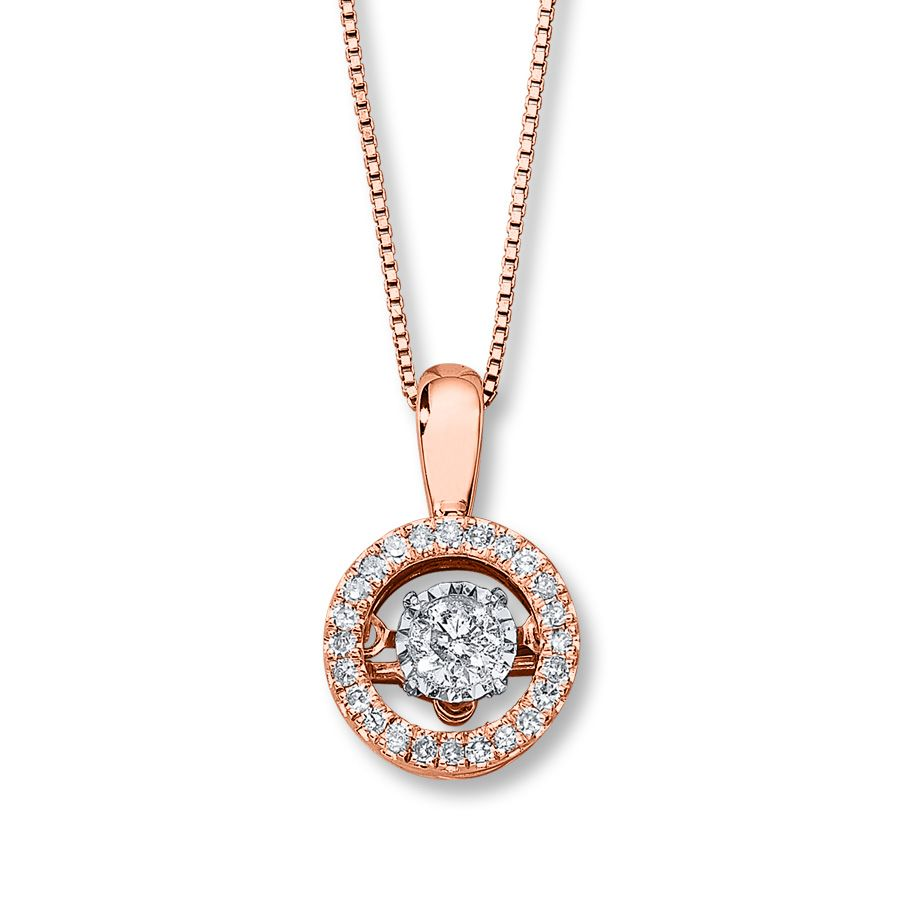 Diamonds in rhythm ct tw necklace k rose gold halo round