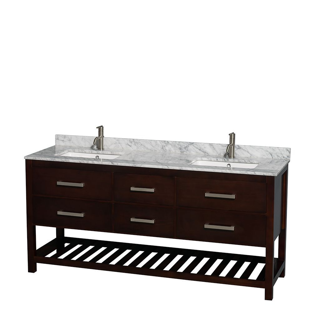 Classic yet elegantly modern, the Wyndham Natalie 72-inch espresso square sink double bathroom vanityis a hallmark of taste and style, destined to become an heirloom and to lend a subtle grace to your bathroom environment.