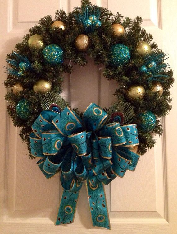 Exquisite Peacock Christmas wreath by Enywear on Etsy, $6895 - peacock christmas decorations