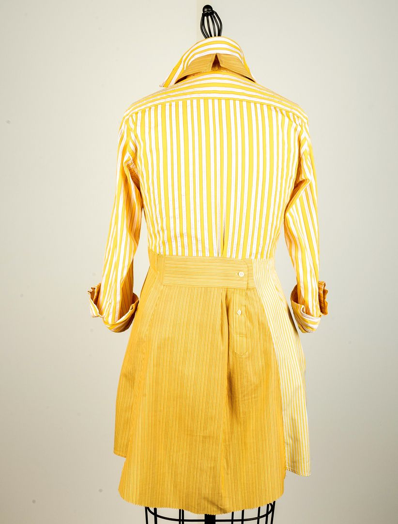 Yellow dress shirt men  From Paganoonoo This is a back view of an upcycled blouse made