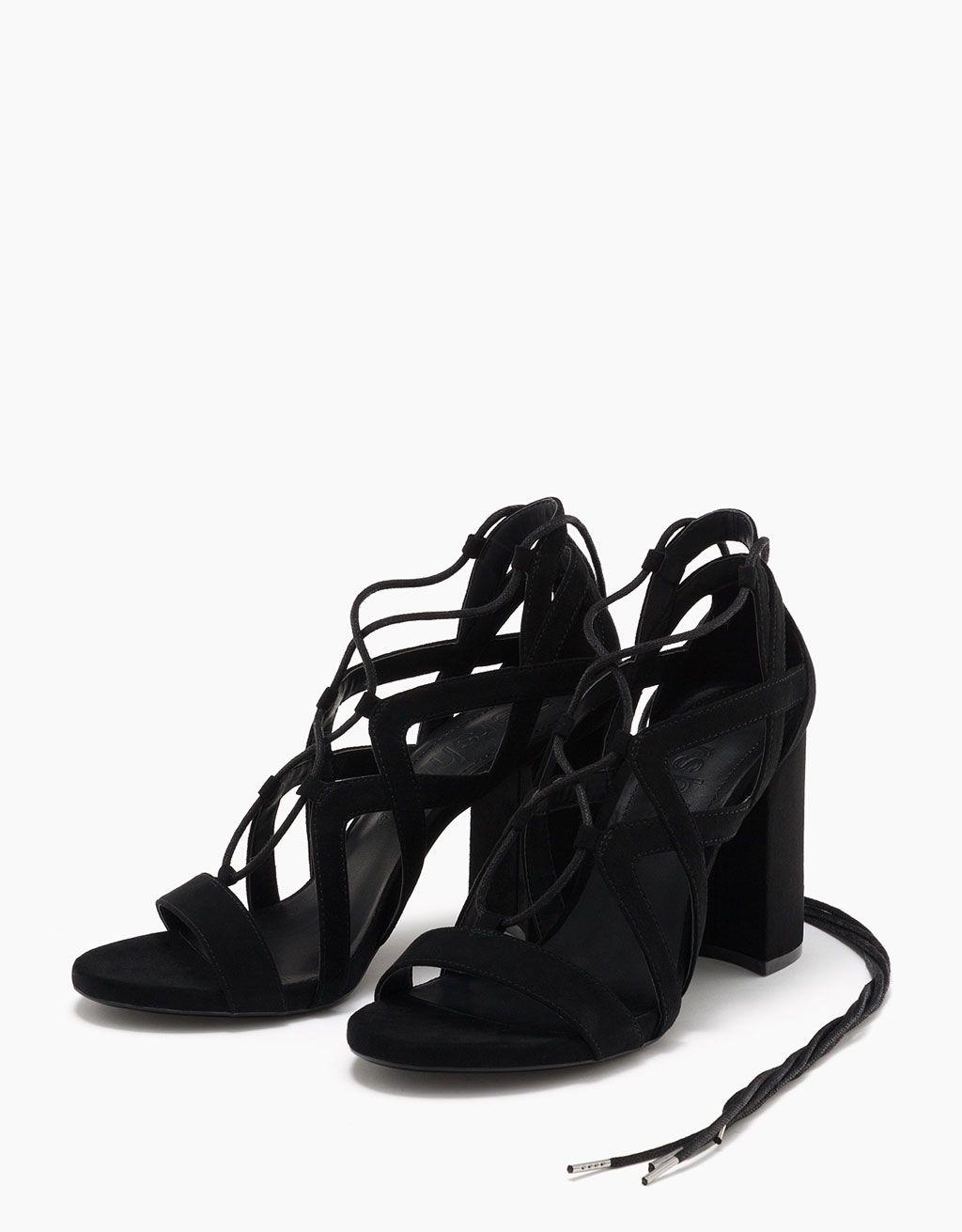 Sandalo tacco ampio con fascette e laccio - Novità - Bershka Italy