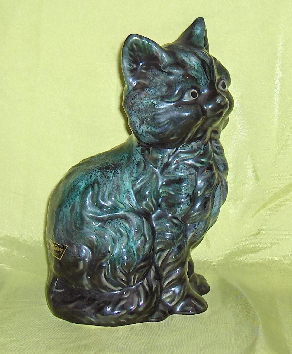 Large Cat Figurine Wyatt Art Pottery Burlington Ontario Canada Original Label | eBay