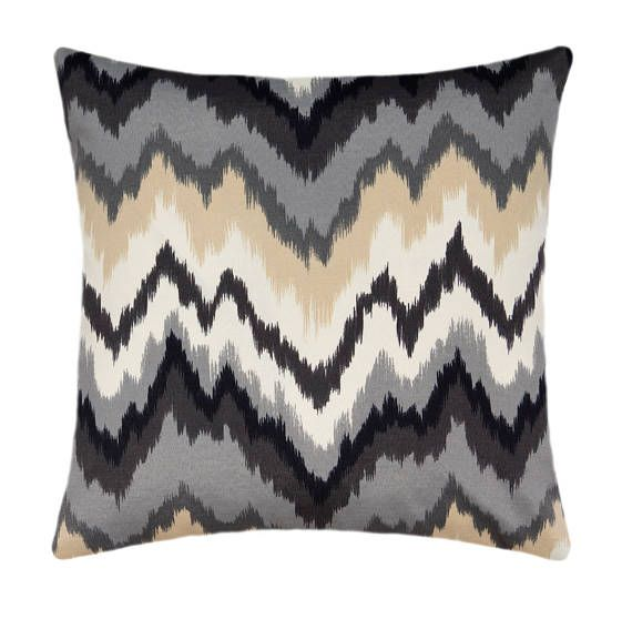 Black Grey Beige Flamestitch Outdoor Pillow Cover Grey Cream Black