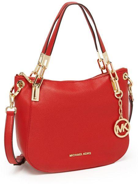 62ffa228036a MK Michael Kors Brooke Medium Leather Shoulder Bag - Lyst