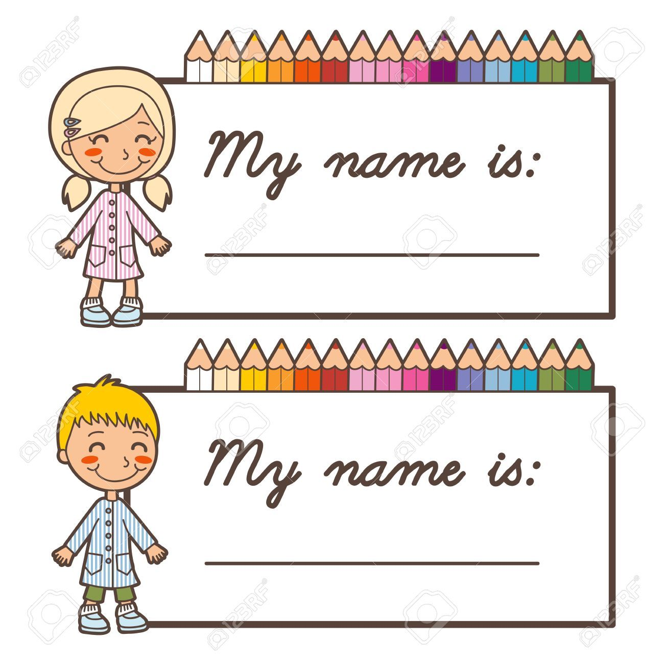 Stock Vector Name tag for school, Preschool name tags