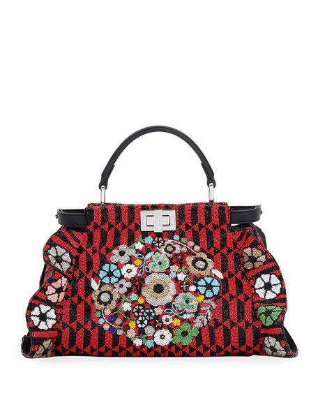 9aadca6f FENDI Peekaboo Mini Floral Beaded Satchel Bag, Red/Black. #fendi ...