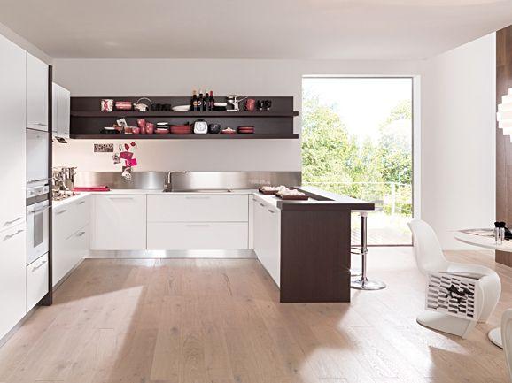 cucina angolare moderna bianco opaco con penisola rovere moro ... - Cucine Con Lavello Ad Angolo E Penisola