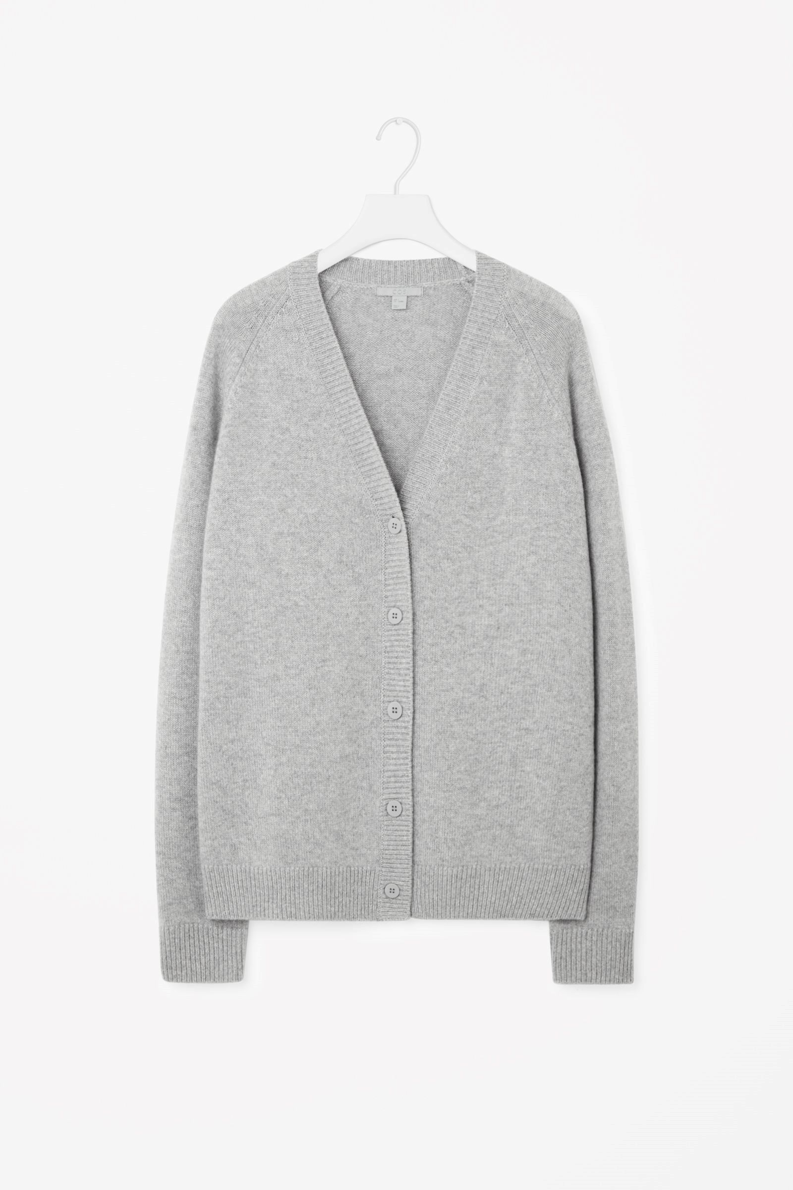 COS image 3 of Oversized cashmere cardigan in Light grey | COS ...