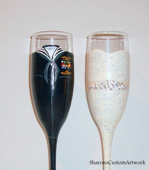 Navy Uniform Bride and Groom Wedding Dress Army, Marine, Airforce Uniform Hand Painted Set of 2 / 6 oz. Champagne Flutes,Toasting Flutes   - wedding ideas -