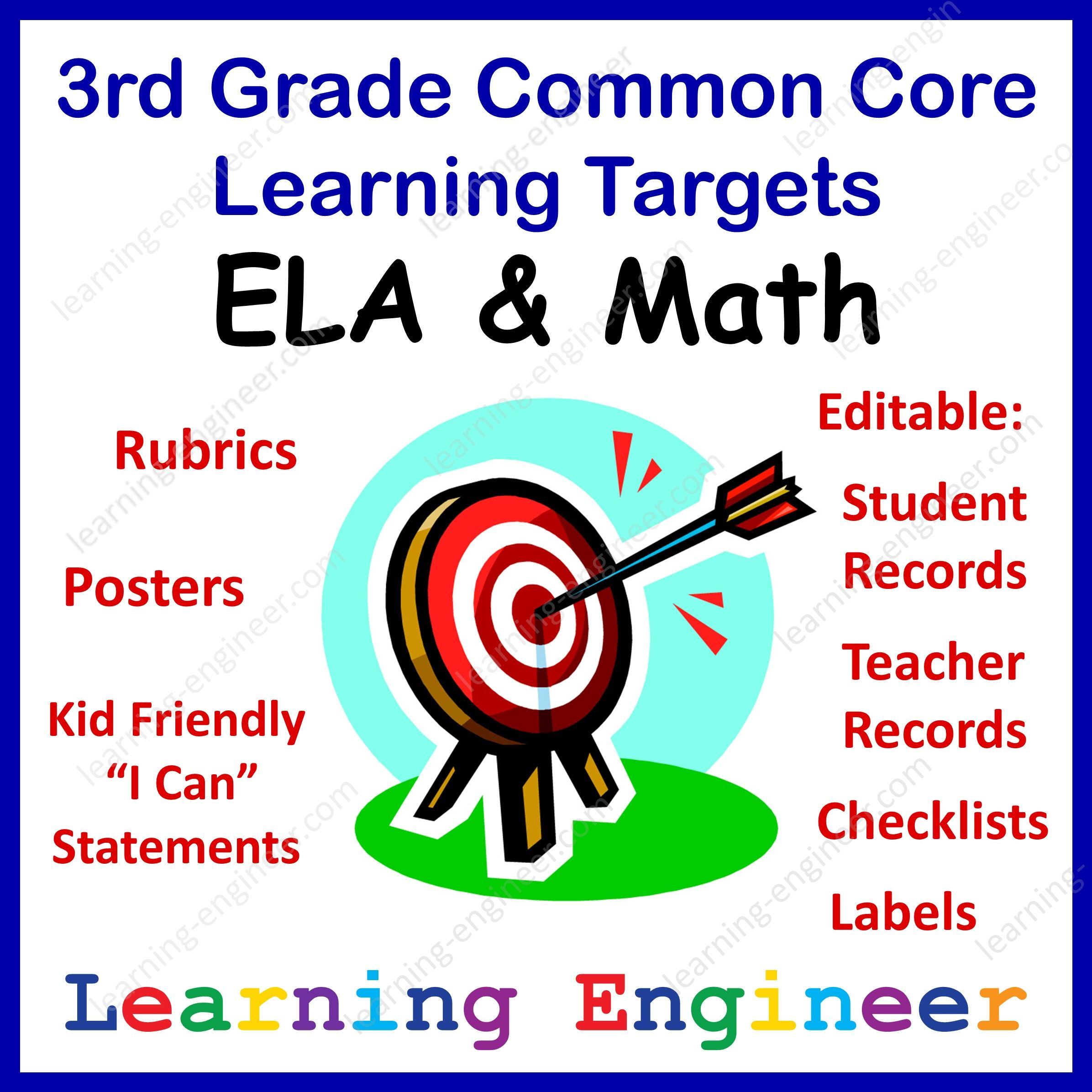 3rd Grade Common Core Ela Amp Math Learning Targets From