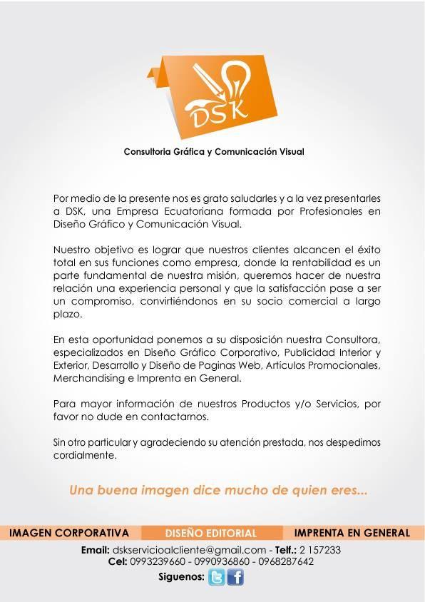 Carta de Presentación de mi empresa en asociación con mis Amigas las ...
