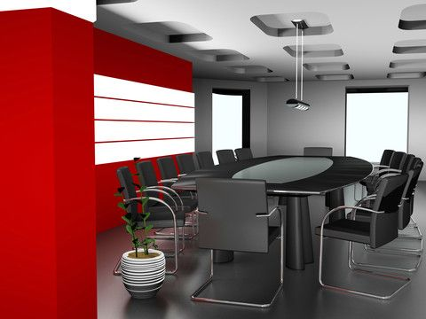 Modern Design Office Meeting Room Black Grey And Red