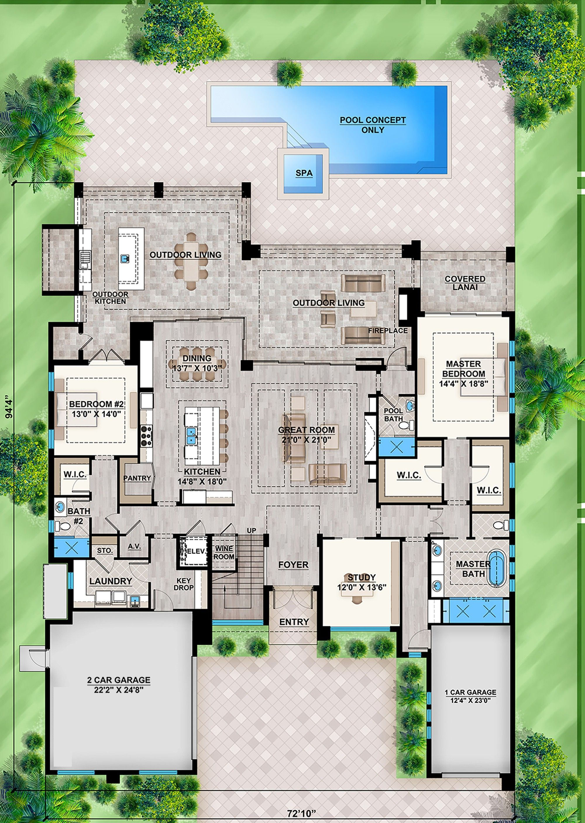 House Plan 207 00075 Contemporary Plan 4 232 Square Feet 4 Bedrooms 5 Bathrooms In 2021 Pool House Plans Courtyard House Plans Dream House Plans