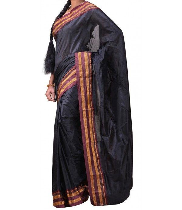 Black Pure Handloom Narayanpet Silk Saree